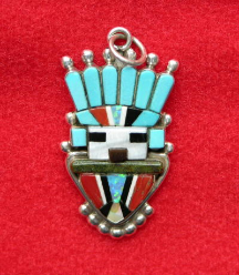 Pendant/Pin Zuni Warrior Inlay