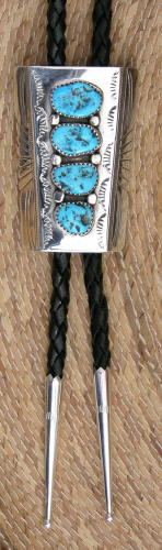 Bolo Tie, 4 Turquoise Nuggets, Navajo