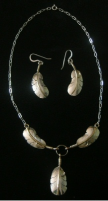 Silver Feather Necklace with Matching Earrings