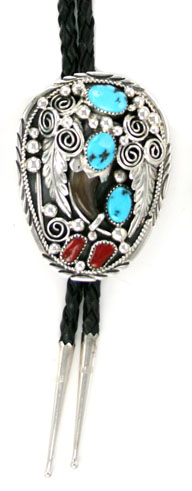 Claw Bolo Tie with Turquoise and Coral Stones