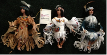 A set of 3 dolls in Native American Dress