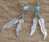 Navajo Turquoise and Feather Earrings